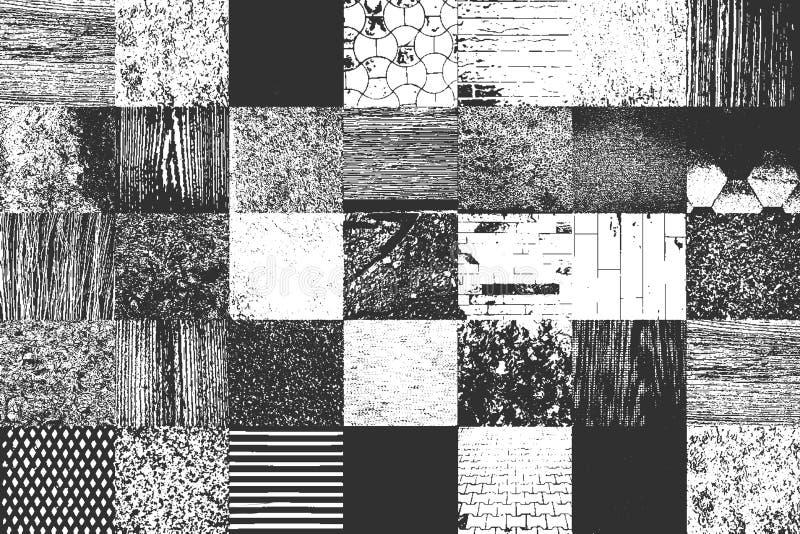 Reeks nood oude texturen omvat concreet hout, metaal, pleister, stof vector illustratie