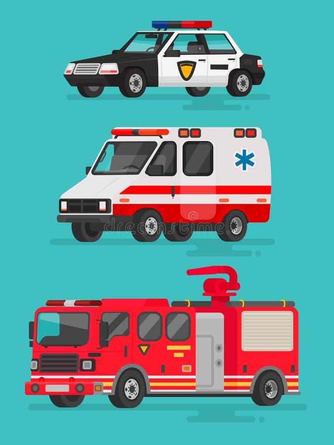 Reeks noodsituatievoertuigen Politiewagen, ziekenwagen vector illustratie