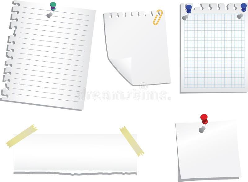 Reeks notadocumenten vector illustratie