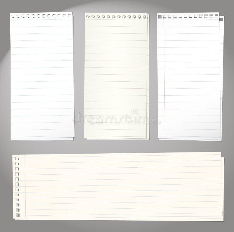 Reeks notitieboekjedocumenten met lijnen op grijs royalty-vrije illustratie