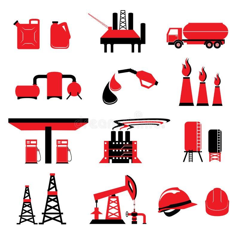 Reeks Olie en Gas de vectoren en pictogrammen van de machtsenergie royalty-vrije illustratie