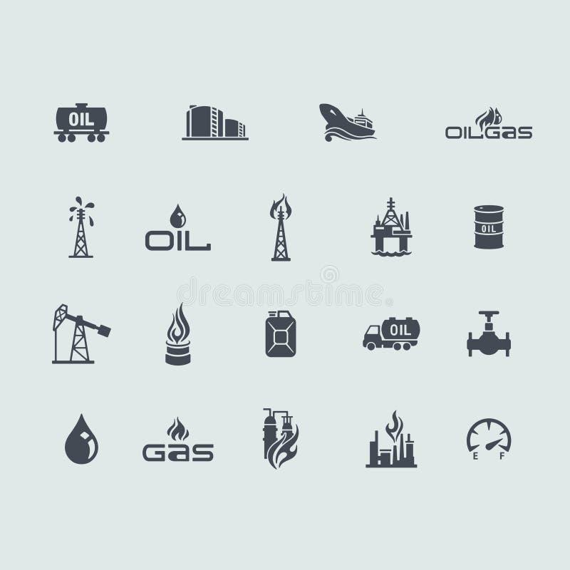 Reeks olie en gaspictogrammen stock illustratie