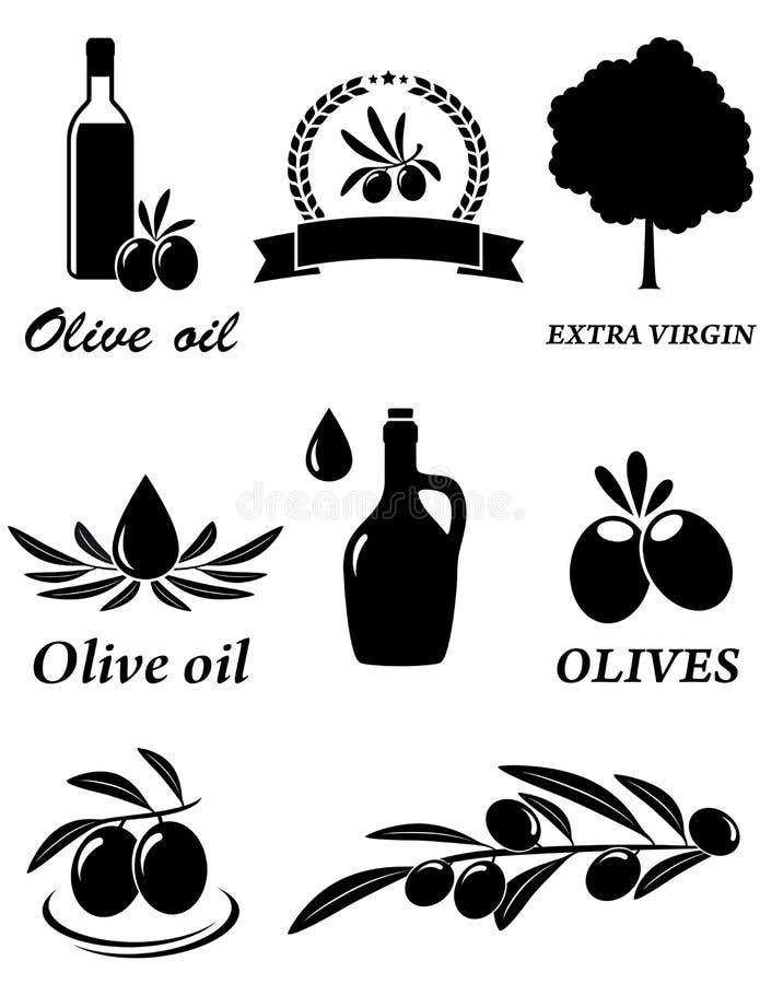 Reeks olijfpictogrammen stock illustratie