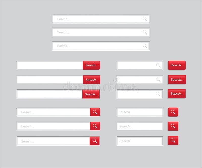 Reeks Onderzoeksbars op grijze achtergrond wordt geïsoleerd die Vectormalplaatje voor Internet-het zoeken Web-surfende interface  stock illustratie