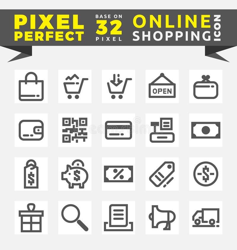Reeks online het winkelen pictogrammen stock illustratie