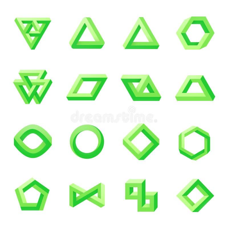 Reeks onmogelijke vormen Optische illusie stock illustratie