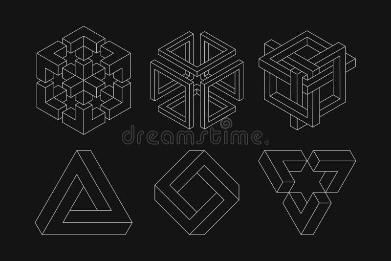 Reeks onmogelijke vormen Optische illusie Heilige Meetkunde Witte vormen Op een zwarte achtergrond stock illustratie