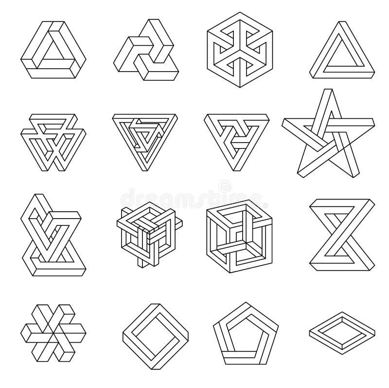 Reeks onmogelijke vormen Optische illusie Vectordieillustratie op wit wordt geïsoleerd Heilige Meetkunde Zwarte lijnen op a stock illustratie