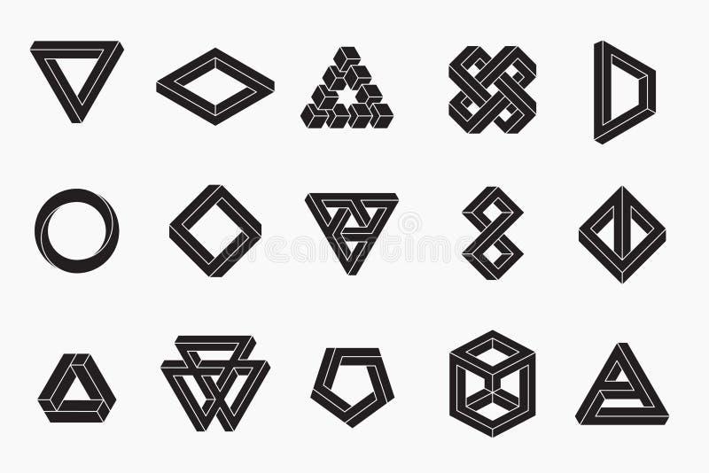 Reeks onmogelijke vormen, un-expanded slagen vector illustratie