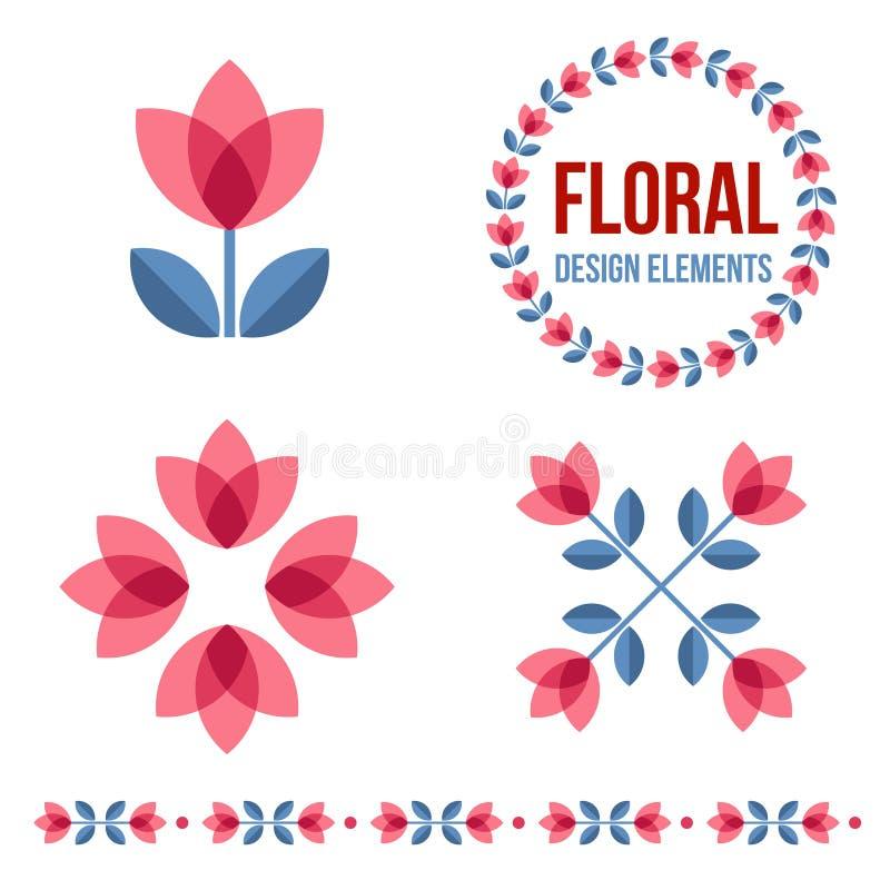 Reeks ontwerpelementen - retro bloemen stock illustratie