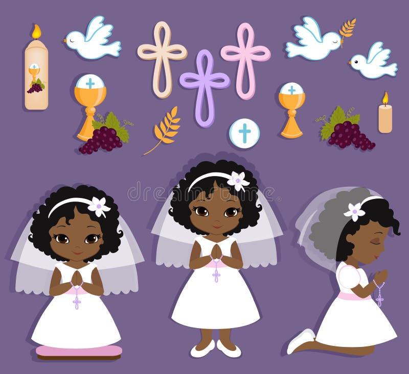 Reeks ontwerpelementen voor Eerste Heilige Communie voor meisjes royalty-vrije illustratie