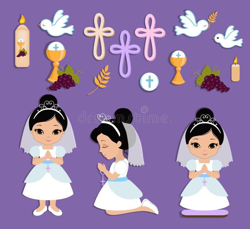 Reeks ontwerpelementen voor Eerste Heilige Communie voor meisjes vector illustratie