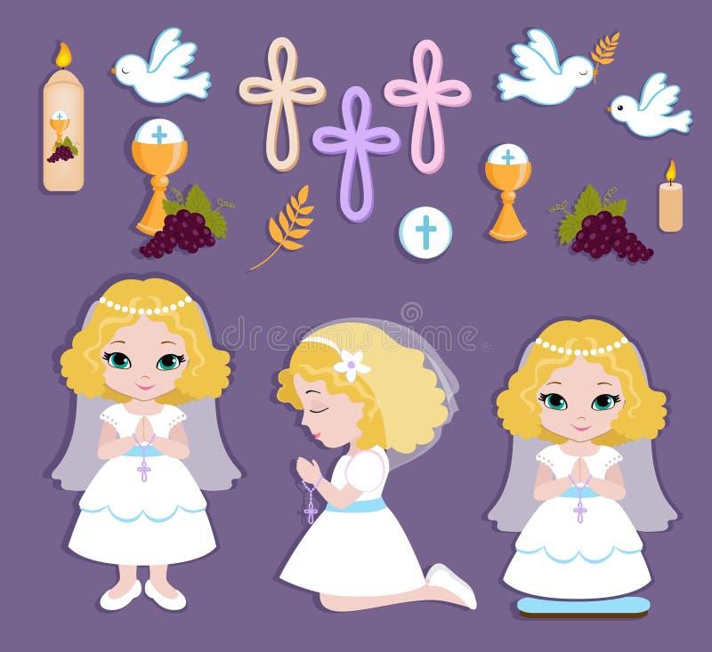 Reeks ontwerpelementen voor Eerste Heilige Communie voor meisjes stock illustratie