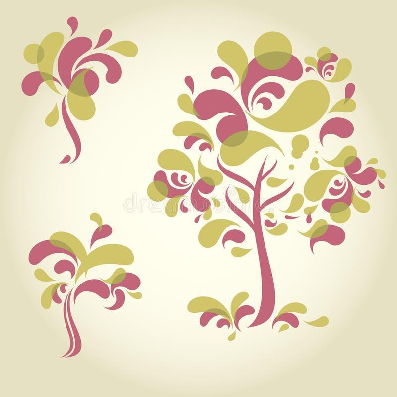 Reeks ontwerpen met decoratieve boom vector illustratie