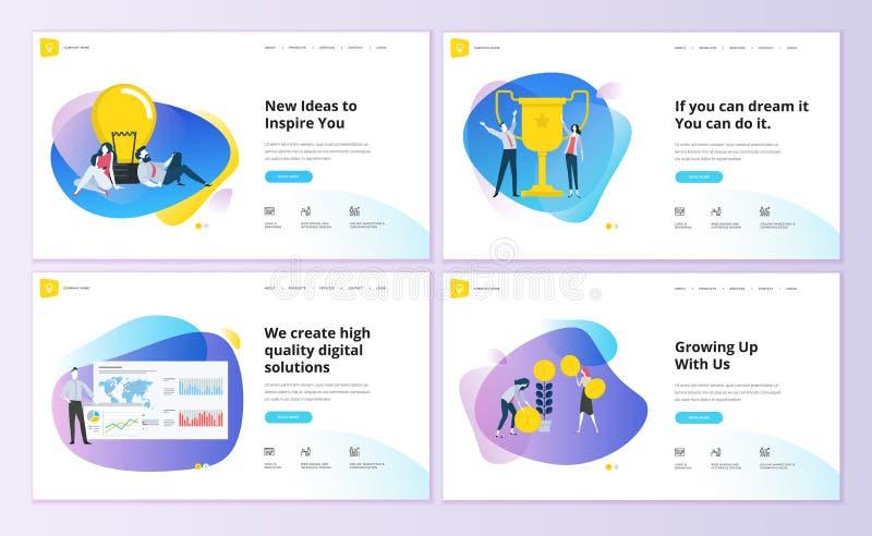 Reeks ontwerpen van het websitemalplaatje vector illustratie