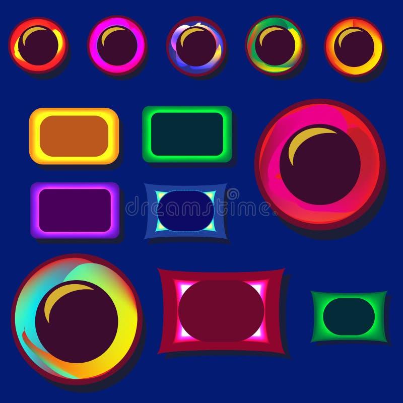 Reeks ontwerpknopen voor websites stock illustratie