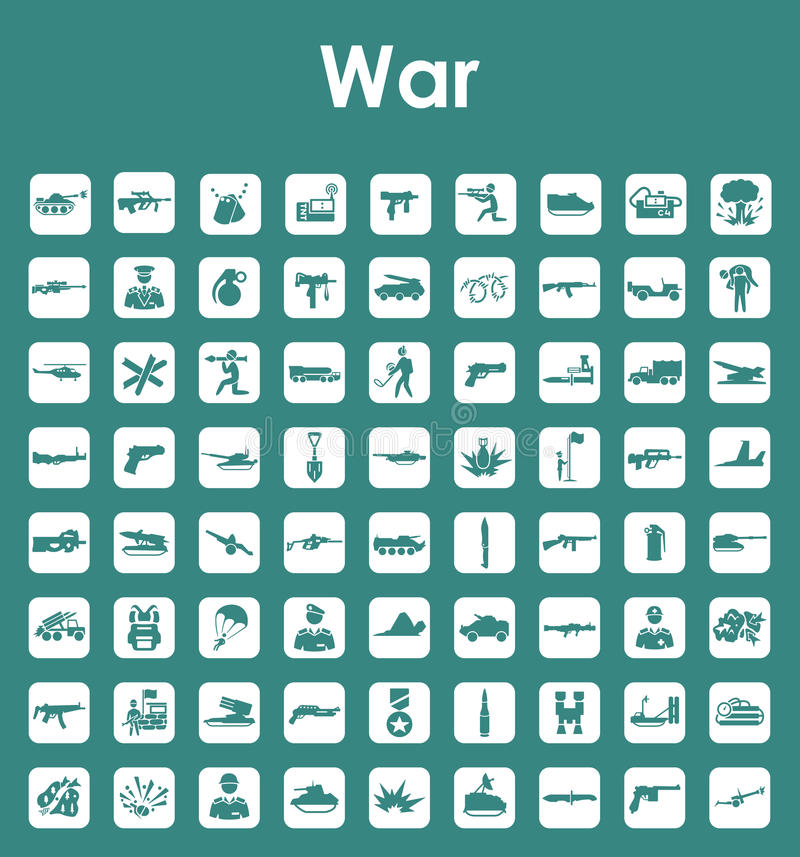 Reeks oorlogs eenvoudige pictogrammen royalty-vrije illustratie