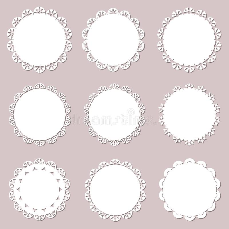 Reeks op uitstekende doilies op ambachtdocument achtergrond Kantdocument knipsel voor servetten, laserbesnoeiing Vector illustrat vector illustratie