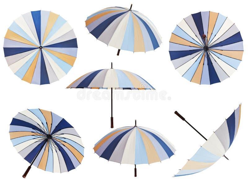 Reeks open gestreepte multicolored paraplu's stock afbeelding