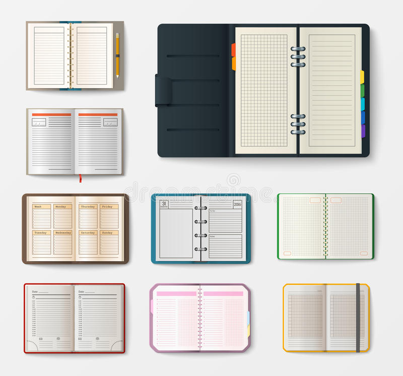 Reeks open realistische notitieboekjes met van het het bureaublad van de pagina'sagenda het malplaatjeboekje en leeg document ond vector illustratie