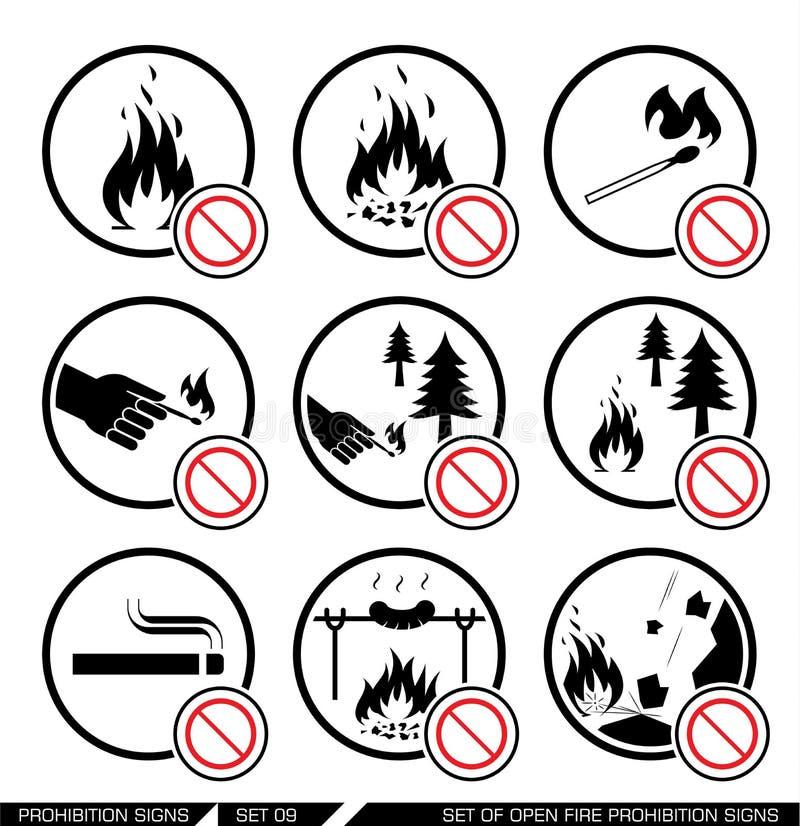 Reeks open tekens van het brandverbod royalty-vrije illustratie