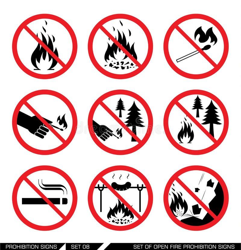 Reeks open tekens van het brandverbod vector illustratie