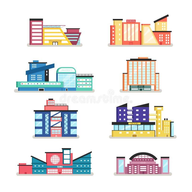 Reeks openbare gebouwen Moderne architectuur Vlakke vectorillustratie vector illustratie