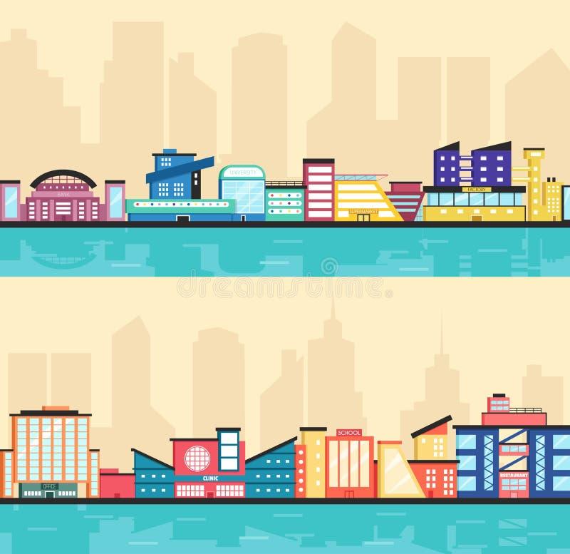 Reeks openbare gebouwen Moderne architectuur Vlakke vectorillustratie royalty-vrije illustratie