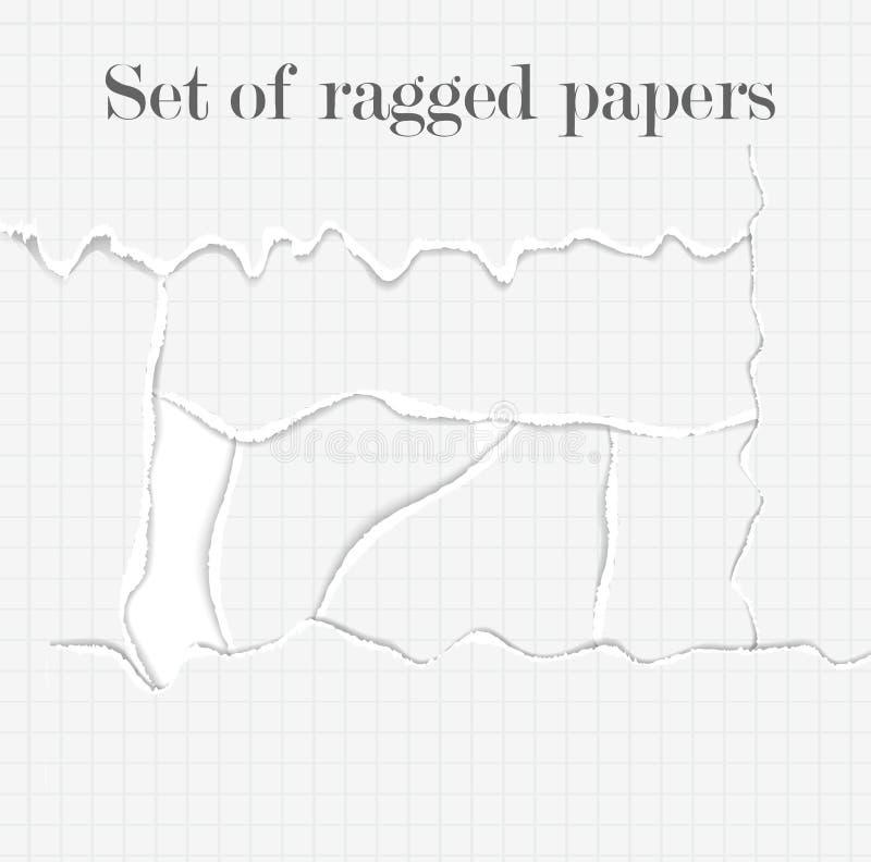Reeks opengescheurde documenten vector illustratie
