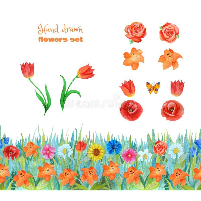 Reeks oranje en rode bloemen Papavers, tulpen, rozen, lelies Naadloze bloemengrens stock foto