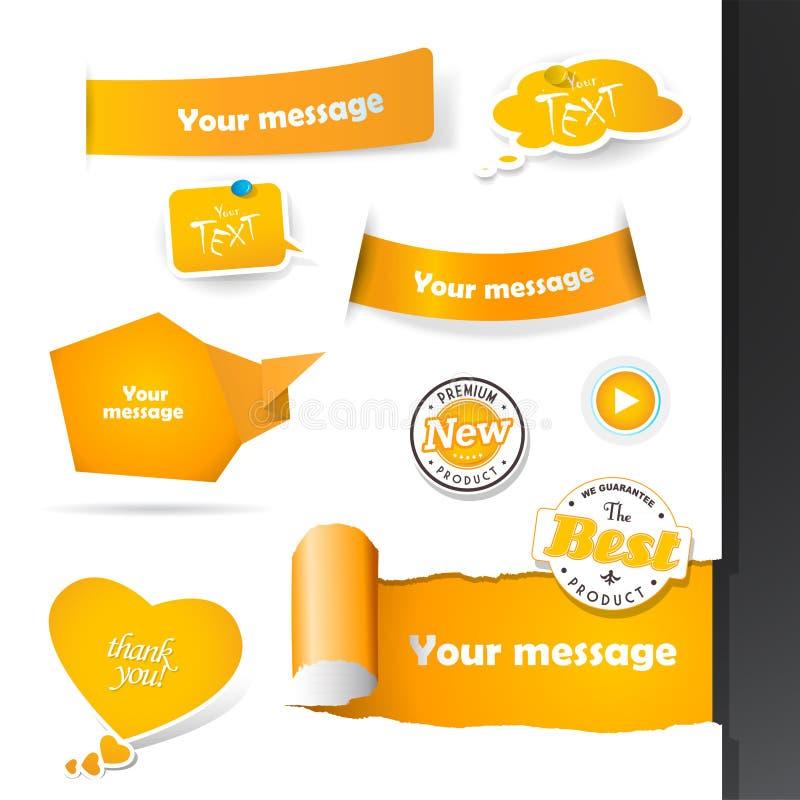 Reeks oranje etiketten en document kentekens stock illustratie