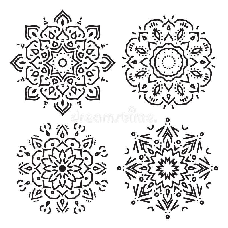 Reeks ornamenten van de lijncirkel in vector, geïsoleerde zwarte op wit stock illustratie