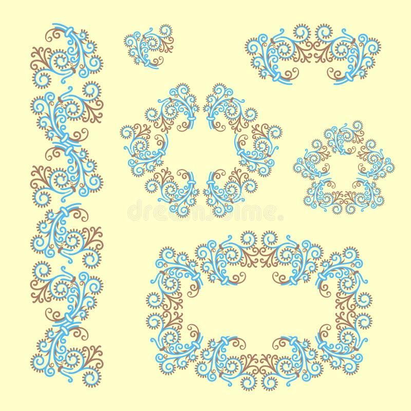 Reeks ornamenten Verfraaid frame Ijzig patroon stock illustratie