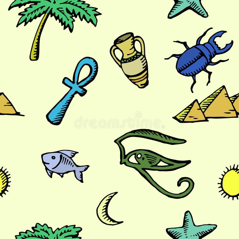 Reeks oude Egyptische symbolen, naadloos patroon royalty-vrije illustratie