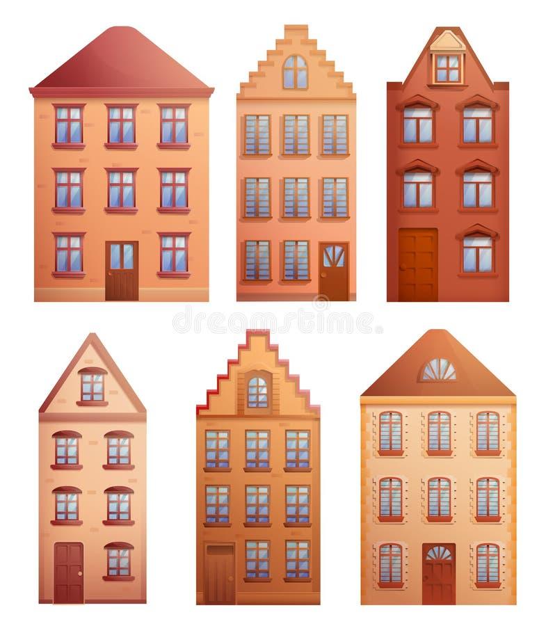 Reeks Oude Huizen vector illustratie