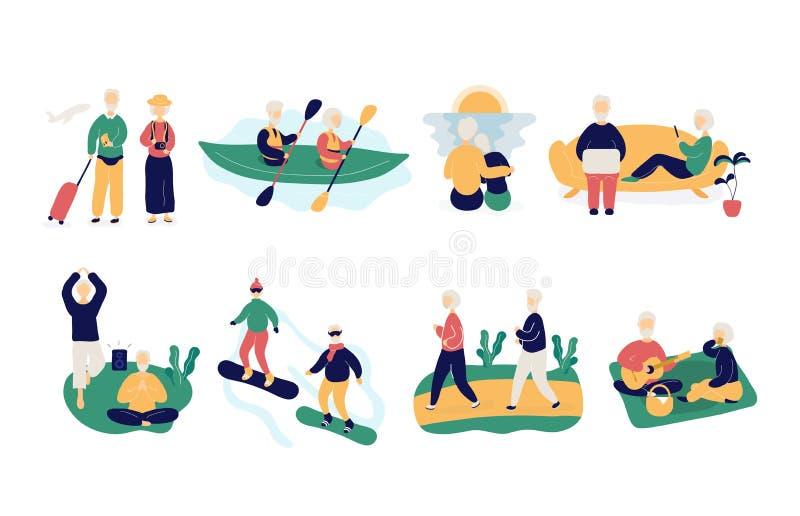 Reeks oude mensen die actieve gezonde levensstijl houden vector illustratie