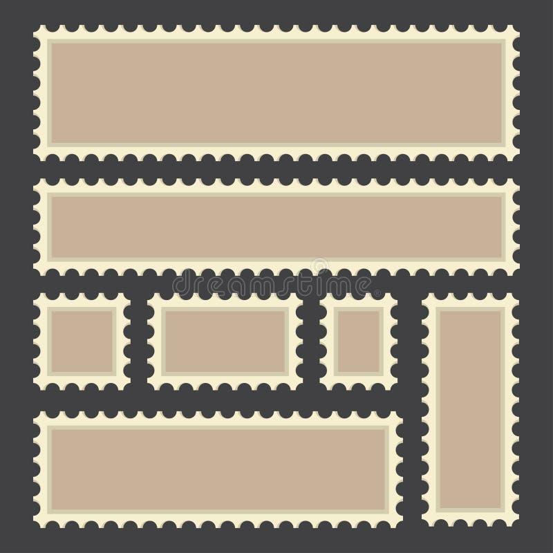 Reeks oude postzegels, lege zegel, retro ontwerp stock illustratie