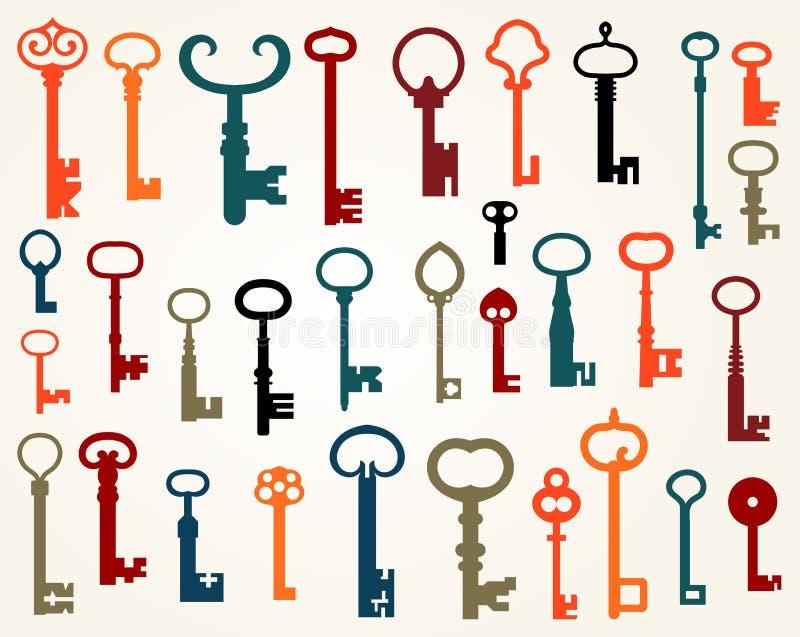 Reeks oude sleutels stock illustratie