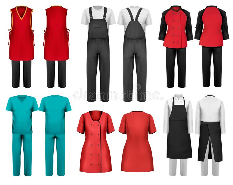 Reeks overall met arbeider en medische kleren vector illustratie