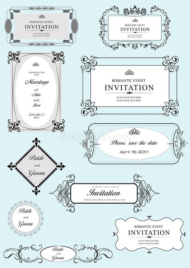 Reeks overladen vectorkaders en ornamenten royalty-vrije illustratie