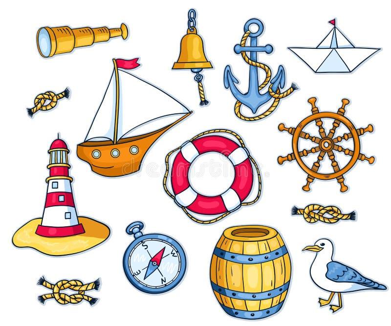 Reeks overzeese voorwerpen vector illustratie