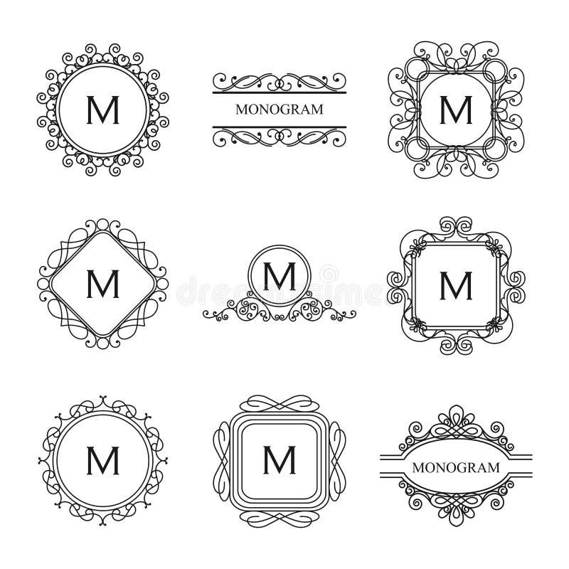 Reeks overzichtsmonogrammen en malplaatjes van het embleemontwerp royalty-vrije stock afbeelding