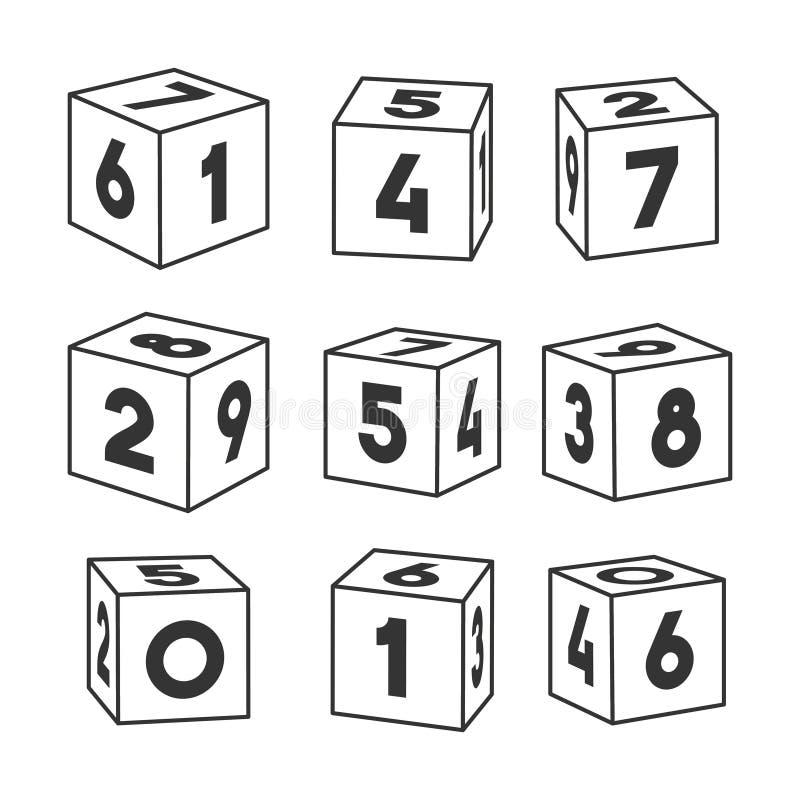 Reeks overzichtsstuk speelgoed bakstenen met aantallen, vectorillustratie voor het kleuren van boek stock illustratie