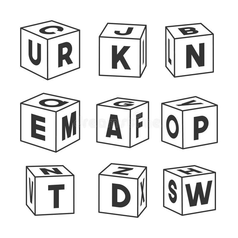Reeks overzichtsstuk speelgoed bakstenen met brieven, vectorillustratie voor het kleuren van boek royalty-vrije illustratie