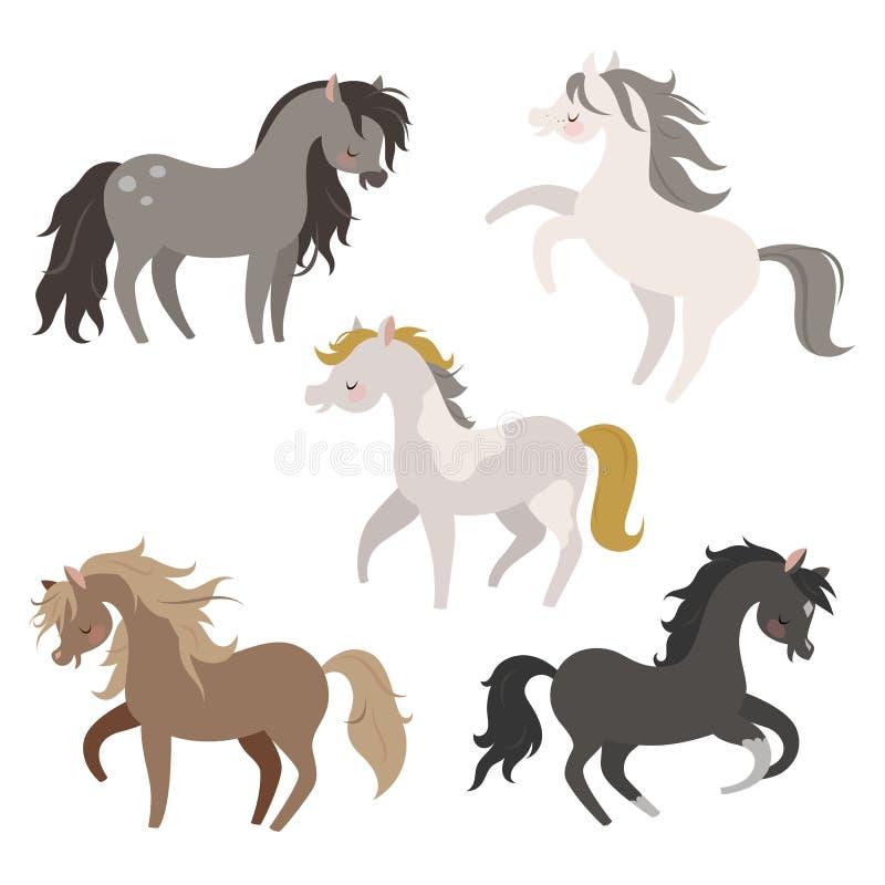Reeks paarden in actie royalty-vrije illustratie