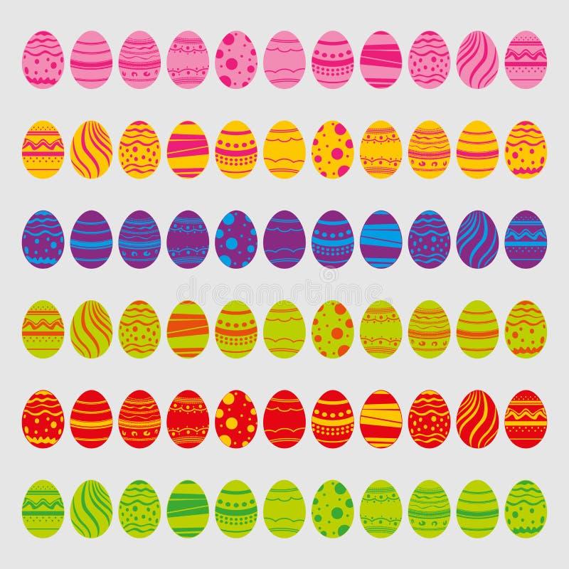 Reeks paaseieren die op witte achtergrond wordt geïsoleerdt Pictogrammen in vlakke stijl met heldere kleuren Vector illustratie G