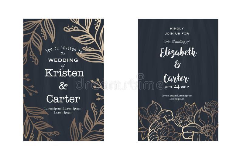 Reeks pagina's van de de uitnodigingsvlieger van de huwelijkskaart in oude stijl stock illustratie