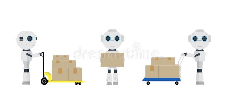 Reeks pakhuisrobots royalty-vrije illustratie