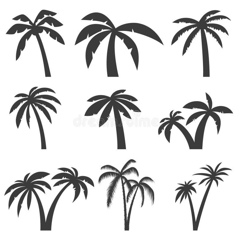 Reeks palmpictogrammen op witte achtergrond wordt geïsoleerd die Ontwerp elem vector illustratie