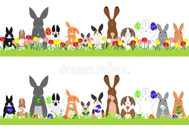 Reeks Pasen-konijntjes op een rij vector illustratie